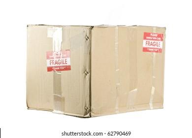 Fragile shipping box isolated on white