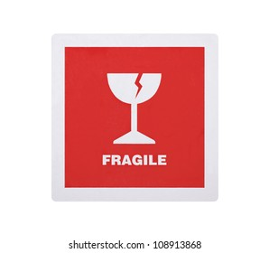 Fragile sticker isolated on white background with clipping path