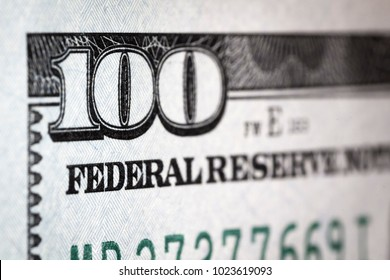 The fragment of 100 dollar bill. Close up.