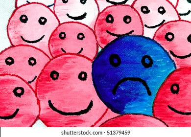 Fragment of abstract faces: the pink ones are smiling, the blue one is sad. Painted by me with tempera on canvas