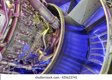 Fragment of aircraft turbo-jet engine, background
