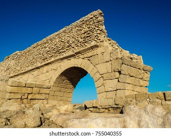 Fragment of the ancient aqueduct. Caesarea. Israel