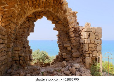 Fragment of ancient arch in National Park of Ashkelon, Israel