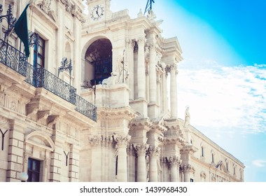 fragment of ancient cathedral, the view of the city of Syracuse (Siracusa), Sicily, Italy