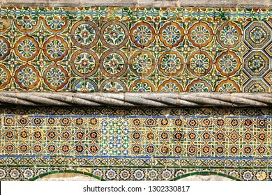 Fragment of ancient ceramic tiles on the wall in the Pena National Palace in Sintra town, Portugal, Europe