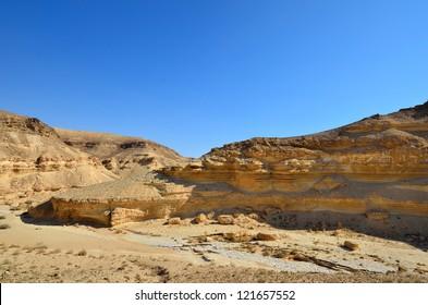 Fragment of ancient desert and mountains. Desert Negev, Israel.