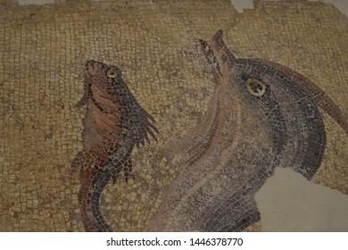 Fragment of an ancient mosaic in Baalbek, Lebanon