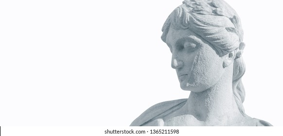 Fragment of ancient statue of goddess of love in Greek mythology, Aphrodite (Venus in Roman mythology) isolated on white background.