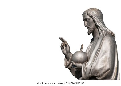 Fragment of antique statue of Jesus Christ. Isolated on white background (faith concept)