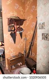 Fragment of the apartment blockaded Leningrad. St. Petersburg, Russia - 7 May, 2017. Exhibition expositions of Leningrad's blockade life during the Great Patriotic War.