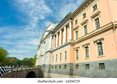 Fragment of beautiful building with columns low angle view
