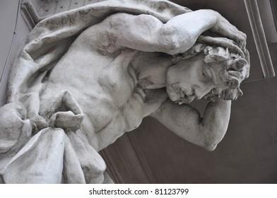Fragment of beautiful old statue, Lviv, Ukraine.