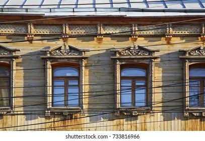 Fragment of building at Pervomaisky prospekt in Ryazan. Russia
