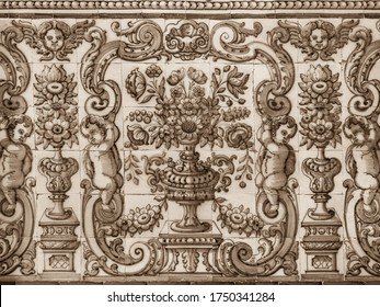 Umriss der Baumauer mit vintage Keramikfliesen, Azulejo, Nahaufnahme. Abstrakter dekorativer Hintergrund, strukturierte Ornate Muster für Design oder Hintergrund. Traditionelle portugiesische Architektur