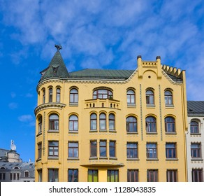 Fragment of Cat House, which was built in 1909 in the old town of Riga, Latvia