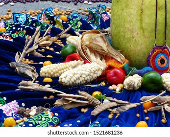 Fragment of Chacana or Ceremony in homage to Pachamama (Mother Earth) is an aboriginal ritual of the indigenous peoples of central Andes. Beans, corn, fruit, tomatoes, pumpkin on the embroidered skirt