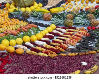 Fragment of Chacana or Ceremony in homage to Pachamama (Mother Earth) is an aboriginal ritual of the indigenous peoples of central Andes. Beans, corn, fruit, banana, pineapple, orange, mango, carrot
