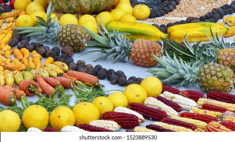 Fragment of Chacana or Ceremony in homage to Pachamama (Mother Earth) is an aboriginal ritual of the indigenous peoples of Ecuador. Beans, corn, fruit, pineapples, oranges, nuts, babaco