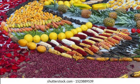 Fragment of Chacana or Ceremony in homage to Pachamama (Mother Earth) is an aboriginal ritual of the indigenous peoples of Ecuador. Bean, corn, fruit, banana, pineapple, orange, mango, carrot, nut