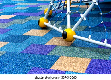 fragment children's  colorful playground on blue sky summer outdoor