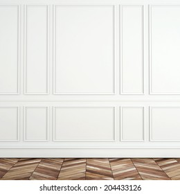 Fragment of classic white interior with wooden floor