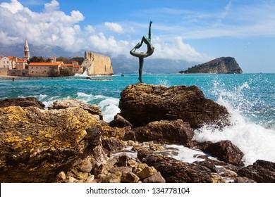 Fragment of coast near to Budva town.Montenegro.