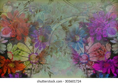 Fragment of colorful retro tapestry , Fragment of colorful retro tapestry textile pattern with floral ornament useful as background