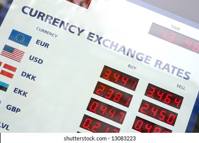 A fragment of the currency exchange rates board, window display,