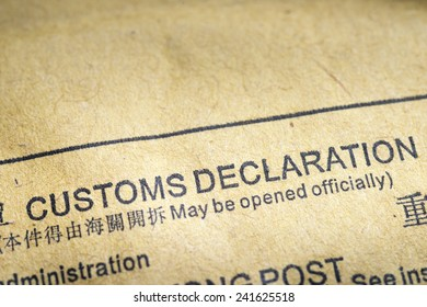 fragment of customs declaration document printed on postal envelope
