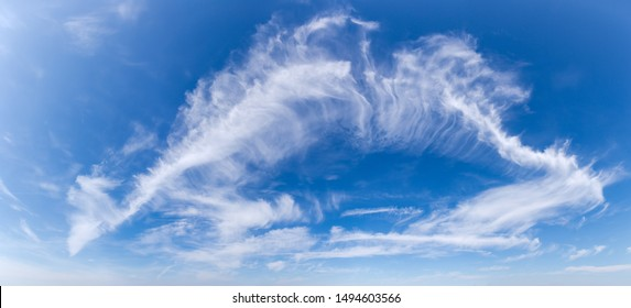 Fragment of the deep blue sky with cirrus clouds in summer day, panoramic view