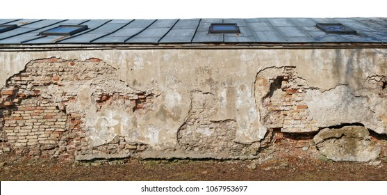 Fragment of the destroyed  centenary church  wellow wall  with a roof made of sheets of galvanized sheet metal. Isolated  on top panoramic collage from several photos.