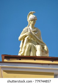 Fragment of the facade of the Admiralty building. The statue of Achilles fixed his gaze on the city unfolding before him.