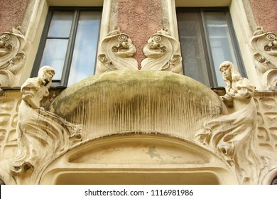 Fragment of the facade of an apartment house in the Art Nouveau style on Bolshaya Zelenina Street in St. Petersburg - Shutterstock ID 1116981986
