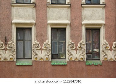 Fragment of the facade of an apartment house in the Art Nouveau style on Bolshaya Zelenina Street in St. Petersburg - Shutterstock ID 1122847310