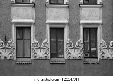 Fragment of the facade of an apartment house in the Art Nouveau style on Bolshaya Zelenina Street in St. Petersburg - Shutterstock ID 1122847313
