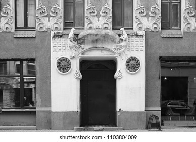 Fragment of the facade of the apartment house and the entrance to the Art Nouveau style on Bolshaya Zelenina Street in St. Petersburg - Shutterstock ID 1103804009