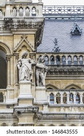 Fragment of famous City Hall building (Rathaus) in Vienna, Austria. Vienna Old Town is a UNESCO World Heritage Site.