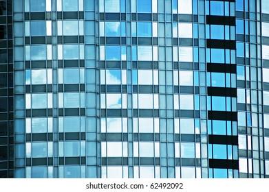 Fragment of glass facade office modern building