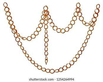 Fragment of golden chain on white background