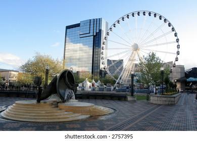 Fragment of grand Ferris Wheel in Birmingham, England, Europe.