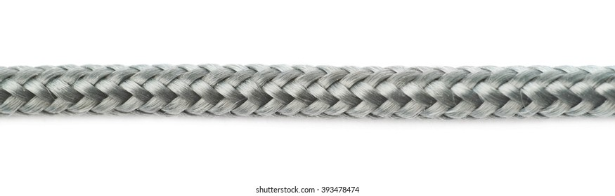 Fragment of gray rope isolated