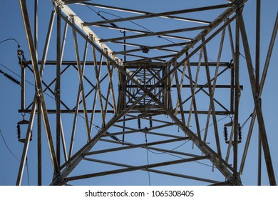 fragment of a high-voltage steel power pole