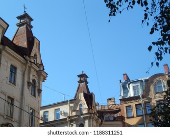 Fragment of a house with a tower, architecture of the beginning of the twentieth century, St. Petersburg, Russia