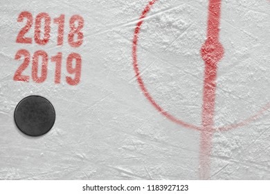 Fragment of ice hockey arena with a puck. Hockey, season, concept