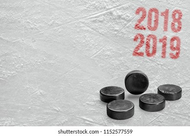 Fragment of ice hockey platform with washers. Concept, hockey, background, season