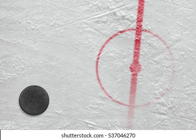 Fragment of ice hockey rink with the puck. Concept, hockey