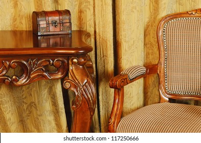 Fragment Of The Interior With Antique Furniture And Coffret On The Table