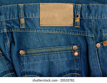 Fragment of jeans with pure label  for your text.