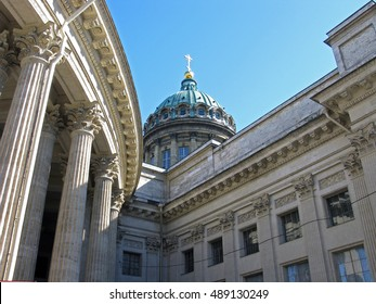 Fragment of Kazan Cathedral. Landmark. Tourist attraction. Architectural monument. Monument of architecture. Historic monument. Historic building. Saint Petersburg. Russia.