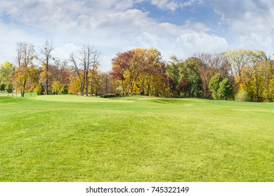 Fragment of the large glade in the autumn park on a background of sky and deciduous trees